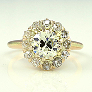 2.01ct Diamond Victorian Antique Vintage Cocktail Cluster Wedding Engagement Rose Gold Ring