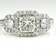GIA 2.08ct Estate Vintage Square PRINCESS Diamond Three Stone ENGAGEMENT Ring With Pave Halo