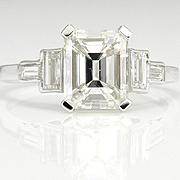 Timeless GIA 2.51ctw DECO Vintage Emerald Cut Diamond Platinum Engagement Wedding Ring