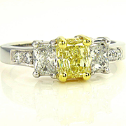 Estate GIA 2.52ct Natural Fancy Yellow Radiant 3 Stone Diamond Engagement Wedding Ring