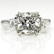 Estate Vintage 3.0ctw CUSHION Cut Diamond 3 Stone ENGAGEMENT Wedding Platinum RING
