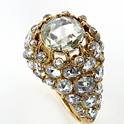 Super Rare...Authentic Victorian 1840s 3ct Old Mine Rose Cut Diamond Engagement Gold Ring