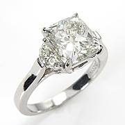 3.57ct Estate Vintage CUSHION Cut Diamond 3 Stone ENGAGEMENT Wedding Platinum RING