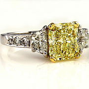 Estate GIA 3.60ct Natural Fancy Yellow Cushion 3 Stone Diamond Engagement Platinum Ring