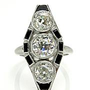 Art Deco 3.71ct OLD European Cut Diamond Three Stone Antique Vintage Platinum Ring