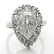 Stunning GIA Art Deco 3.78ctw Old Euro PEAR Cut Diamond Engagement Platinum Cluster Ring