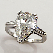 Colorless 4.27ct Estate Vintage Solitaire PEAR Shaped and Baguettes Diamond Engagement, Annive
