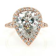 Huge COLORLESS 4.33ct Estate Vintage PEAR Shaped Diamond Engagement Wedding Halo Rose Gold Rin
