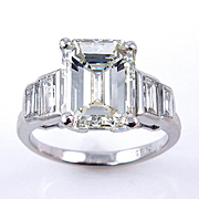 Impressive Art Deco 4.45ct Emerald Cut and Baguette Diamond Engagement Wedding Platinum Ring