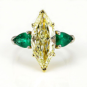 """Estate """"Canary"""" 4.63ctw Natural Fancy YELLOW Marquise Diamond and Green Emerald Trilogy Pl"""