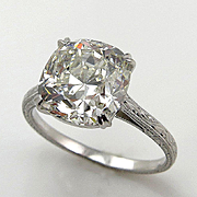 Breathtaking 5.02ct Estate Vintage Cushion Diamond Solitaire Engagement Wedding Platinum Ring