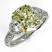 Estate Vintage GIA 5.13ct Natural Fancy Yellow Cushion 3 Stone Diamond Engagement Anniversary