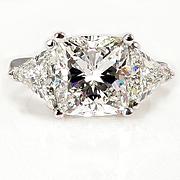 Huge 5.65ct Estate Vintage CUSHION Cut Diamond 3 stone ENGAGEMENT Wedding Platinum Ring