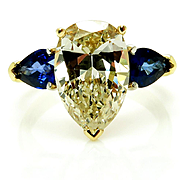 """Estate """"Canary"""" 5.67ctw Natural Fancy YELLOW Pear Shaped Diamond and Sapphire Trilogy 18k"""
