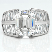 Huge GIA 6.69ct Emerald Cut and Baguette Diamond Engagement Wedding 18k WG Ring