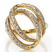 Estate Large 0.50ctw Diamond Fashion Dinner Swirl 14k Gold Ring