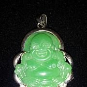 SALE Emerald Chinese Green Jade 18KGP Buddha Pendant