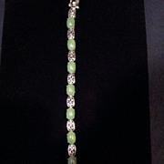 Vintage Chinese Green Jade Sterling Silver Bracelet