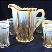 SALE Victorian EAPG Northwood Glass Drapery Water Set Pitcher 6 Tumblers Opalescent