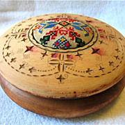 SOLD Vintage Old Folk Art Wood Hand Carved Box Pa Dutch Hex Embroidered Pin Cushion Sewing