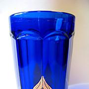 REDUCED EAPG Northwood Glass Regent Cobalt Blue Tumbler Leafy Medallion