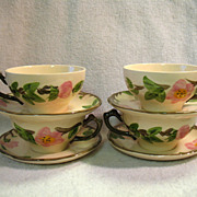 REDUCED 4 Franciscan Desert Rose Cups & Saucers England