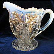 REDUCED EAPG Northwood Paneled Holly Creamer Pitcher Opalescent & Gold Excellent