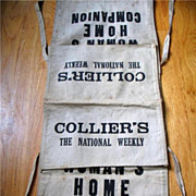 REDUCED Vintage Canvas Newspaper Bag Paperboy Colliers Weekly Womans Home Companion Magazine