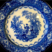 "REDUCED Antique Flow Blue Watteau Doulton Dinner Plate 9 1/2"" Burslem England"