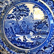 "REDUCED Antique Flow Blue Plate 10 1/2"" Wild Rose 1784 G. Jones England"