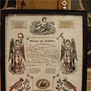 REDUCED Folk Art Fraktur Birth Cert Hafer Osenbach 1873 Schuylkill County Brunswick  PA