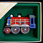 REDUCED 1984 Hallmark Tin Locomotive Train Toy Christmas Ornament In Box  # 3 In Series