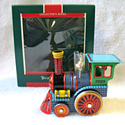 REDUCED 1989 Hallmark Tin Locomotive Train Toy Christmas Ornament In Box # 8 Final  In Series