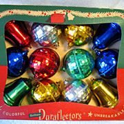 REDUCED Vintage Christmas Boxed Set 12 Hard Plastic Ornaments Duraflectors Unbreakable