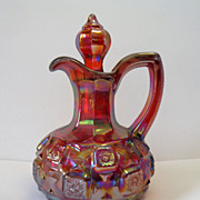 SOLD Ruby Red Carnival Glass Cruet Old Quilt  Westmoreland for Levay