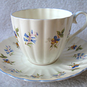 REDUCED Royal Tuscan England Bone China Cup & Saucer Blue Bell Flowers Fluted D 2553