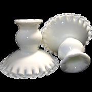 SALE Vintage Pair Fenton Silver Crest Candle Holders Candlesticks White Milk Glass