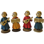 SALE Vintage Set 4 Choir Angel Figurines Hard Plastic Hong Kong