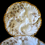 REDUCED 2 Antique CFH Haviland Limoges Wave Oyster Plates Schleiger 373 Small