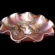 "SALE Circa 1911 Carnival Glass Footed Bowl Dugan Cherries 9"""