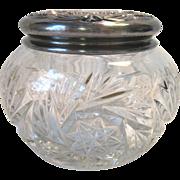 SALE Antique EAPG Heisey Glass Powder Dresser Jar Silver Repousse Lid