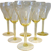 SALE Set of 6 Vintage Etched Floral Cut Yellow Crystal Water Wine Goblets Glasses