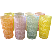 SOLD Set of 8 Vintage Spaghetti String Glass Tumblers Rubberized Color Craft Shat-R-Pruf 5 1/2