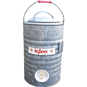 SALE Vintage IGLOO Galvanized Metal Cooler 3 Gallon Spigot Container Camping