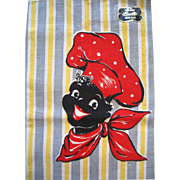 SALE Vintage Black Americana Kitchen Tea Towel Linen Happy Chef Never Used With Label