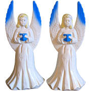 "SALE Vintage Christmas Angel Light Pair Blow Mold Hard Plastic 18""  Union Products"