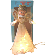 Vintage Angel Light Christmas Tree Topper Tulle Japan