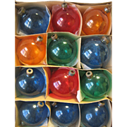 Set of 12 Vintage Glass Christmas Ornaments Unsilvered WWII Era USA Plain Jewel Colors