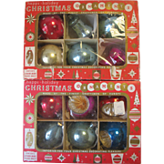 Set of 12 Vintage Glass Christmas Ornaments Czechoslovakia Indents Bells Round Boxed Mica Polk