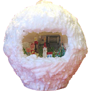 Vintage Christmas Novelty Wax Snowball Music Box Diorama Scene Candle Holder 1960's